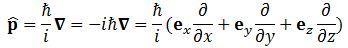 momentum vector operator