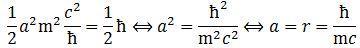 Compton radius formula